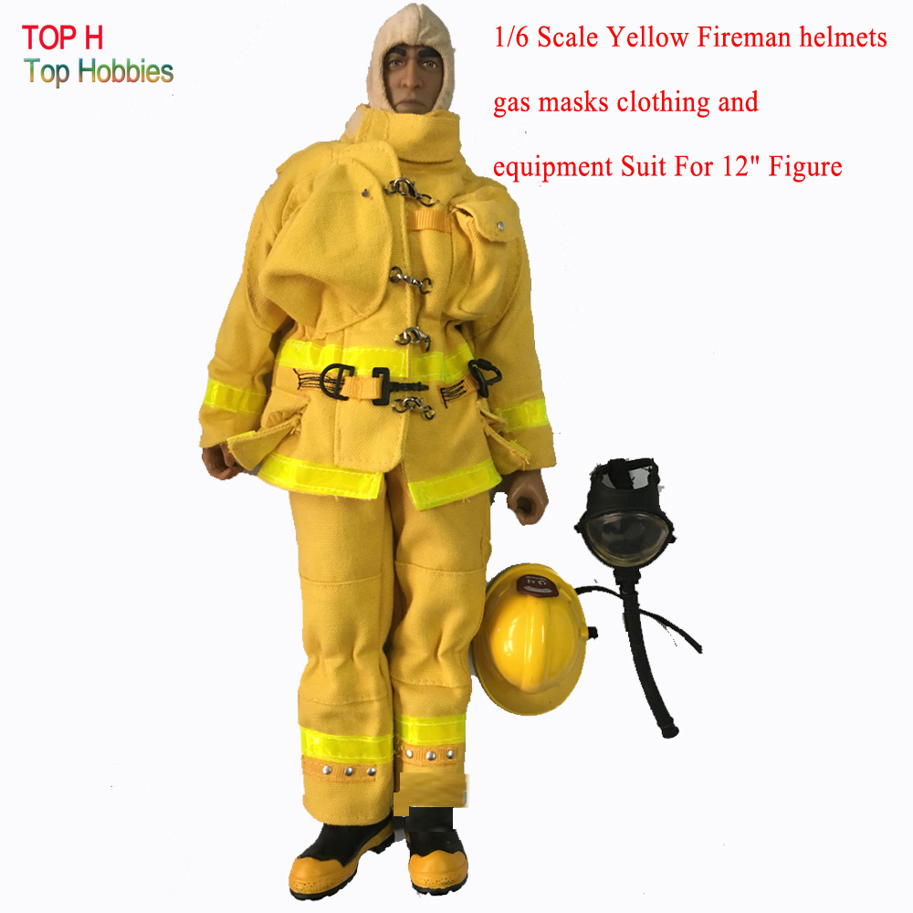 1/6 Scale Yellow Fireman Helmets Gas Masks Clothing And Equipment Suit For 12 Soldier Action Figure Not Include Body and Head 1 6 scale figure accessories male wolverine logan clothing with claw for 12 action figure doll not included body head and other