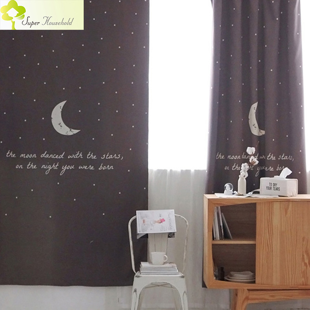 Cheap New Design Children Curtains for Kids Curtains for Bedroom Star Pattern Modern Window Curtain Home Textile 130*270cm Ready Made