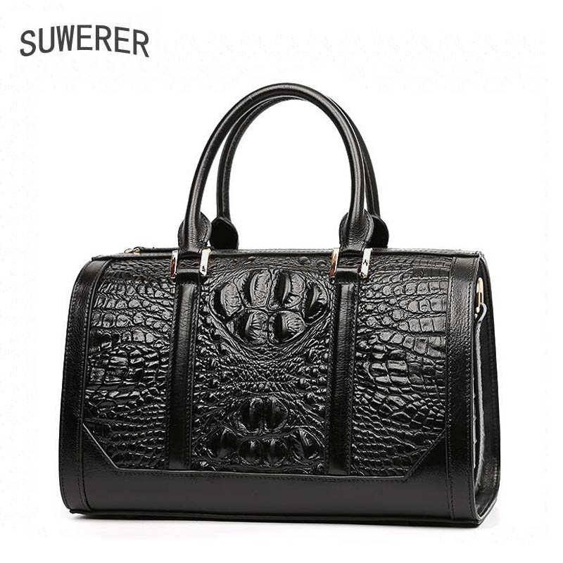2018 New women bag Superior cowhide Genuine Leather women handbags fashion Crocodile pattern tote women handbags shoulder bag 2018 yuanyu 2016 new women crocodile bag women clutches leather bag female crocodile grain long hand bag