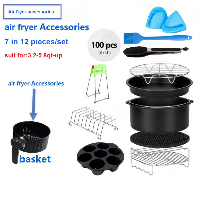 Air Fryer Accessories Deep Fryer Universal, Air Fryer Accessories Fit For Airfryer 3.2QT-5.8QT-up, 7inch, 12 Pieces Set