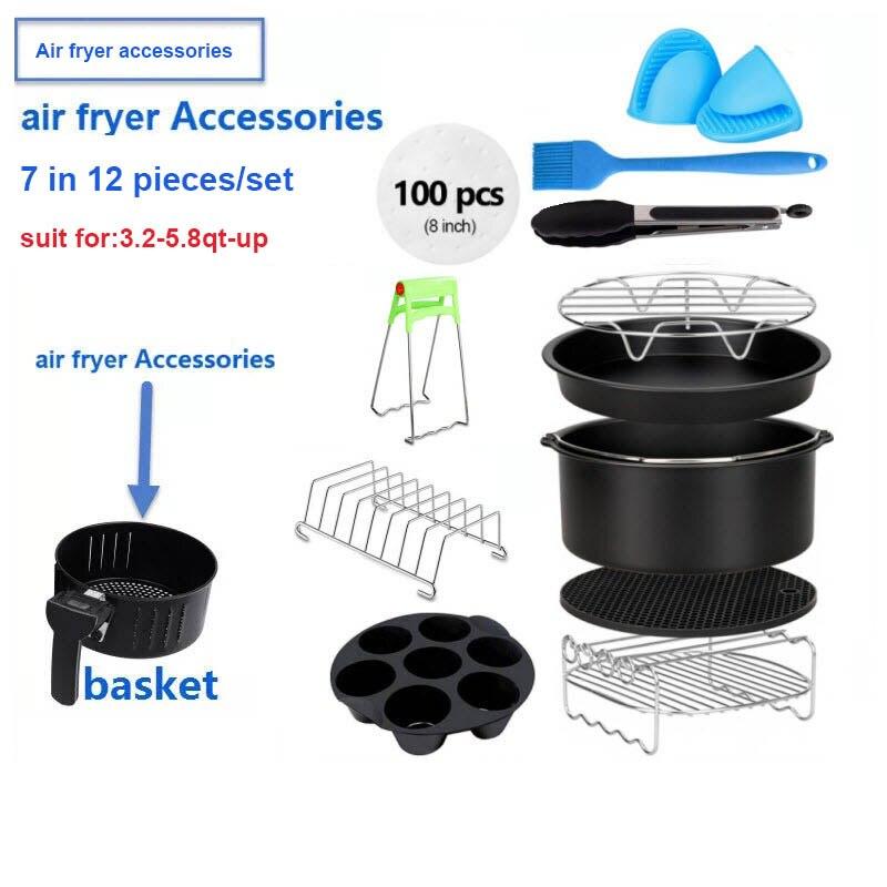 Air Fryer Accessories Deep Fryer Universal, Air Fryer Accessories Fit for Airfryer 3.2QT 5.8QT up, 7inch, 12 Pieces Set