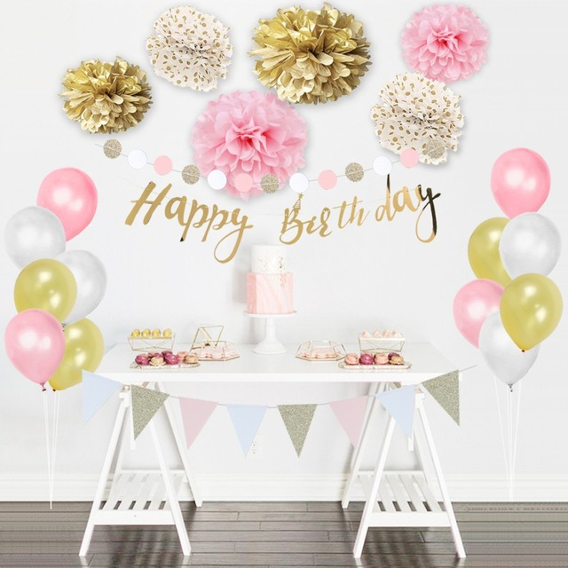 Set Of 24 Gold Pink White Birthday Party Decorations Banner Bunting Balloons Pom Flowers Kids Adult Supplies