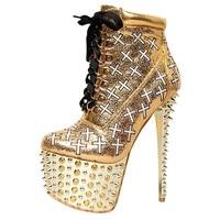 Fashion sexy golden rivet cross strap heels waterproof platform high heels big size Women Shoe Featured stage shoes women pumps