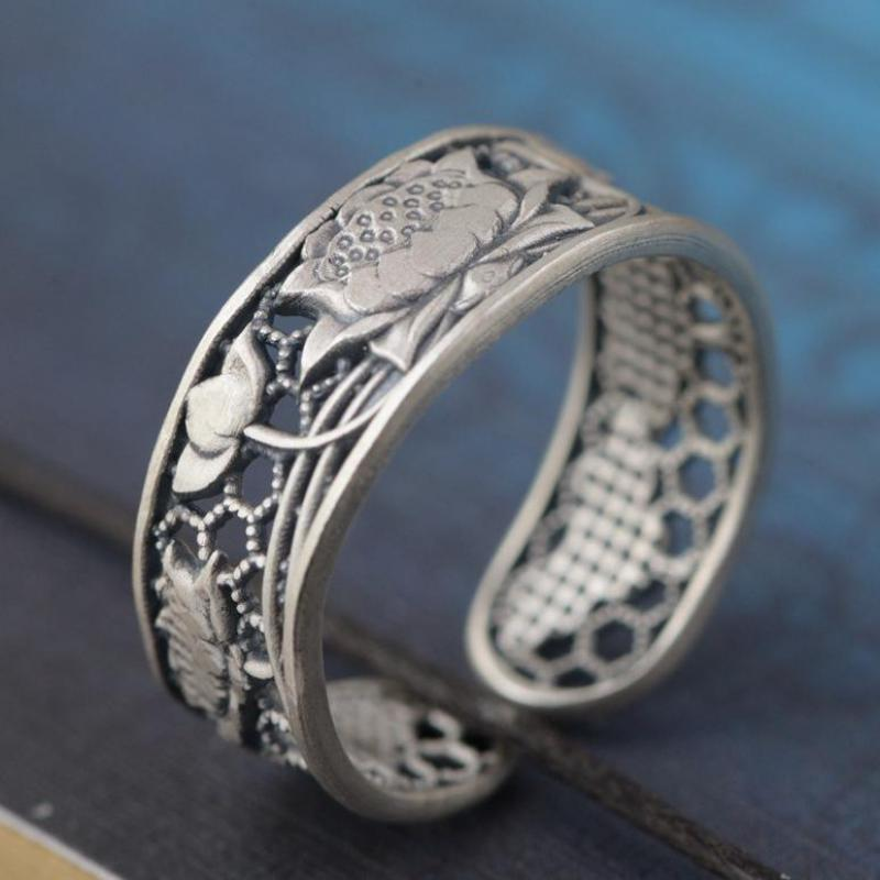 Real 925 Sterling Silver Rings Jewelry Lotus Phoenix Hollow Design