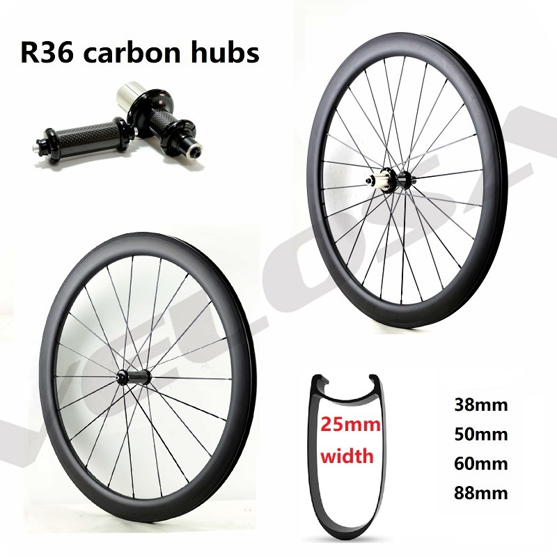 R36 carbon hubs 700C road bike Carbon Wheels 38mm 50mm 60mm 88mm Tubular Clincher,25mm width U sharp aero rim