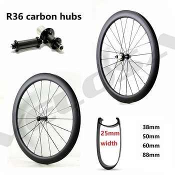 R36 carbon hubs 700C road bike Carbon Wheels 38mm 50mm 60mm 88mm Tubular Clincher,25mm width U sharp aero rim - Category 🛒 Sports & Entertainment