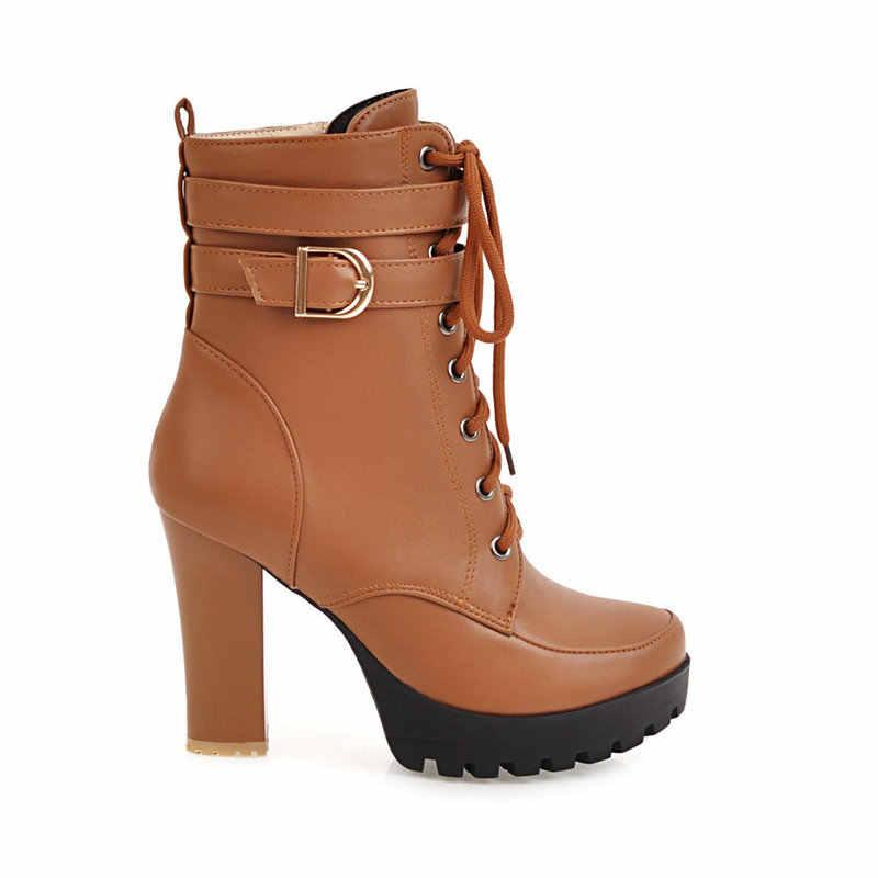 Tıknaz Yüksek Topuklu Kadın yarım çizmeler Lace Up Sonbahar Kış Platformu Bayanlar Çizmeler Büyük Boy moda ayakkabılar Beyaz Siyah Kahverengi 2019
