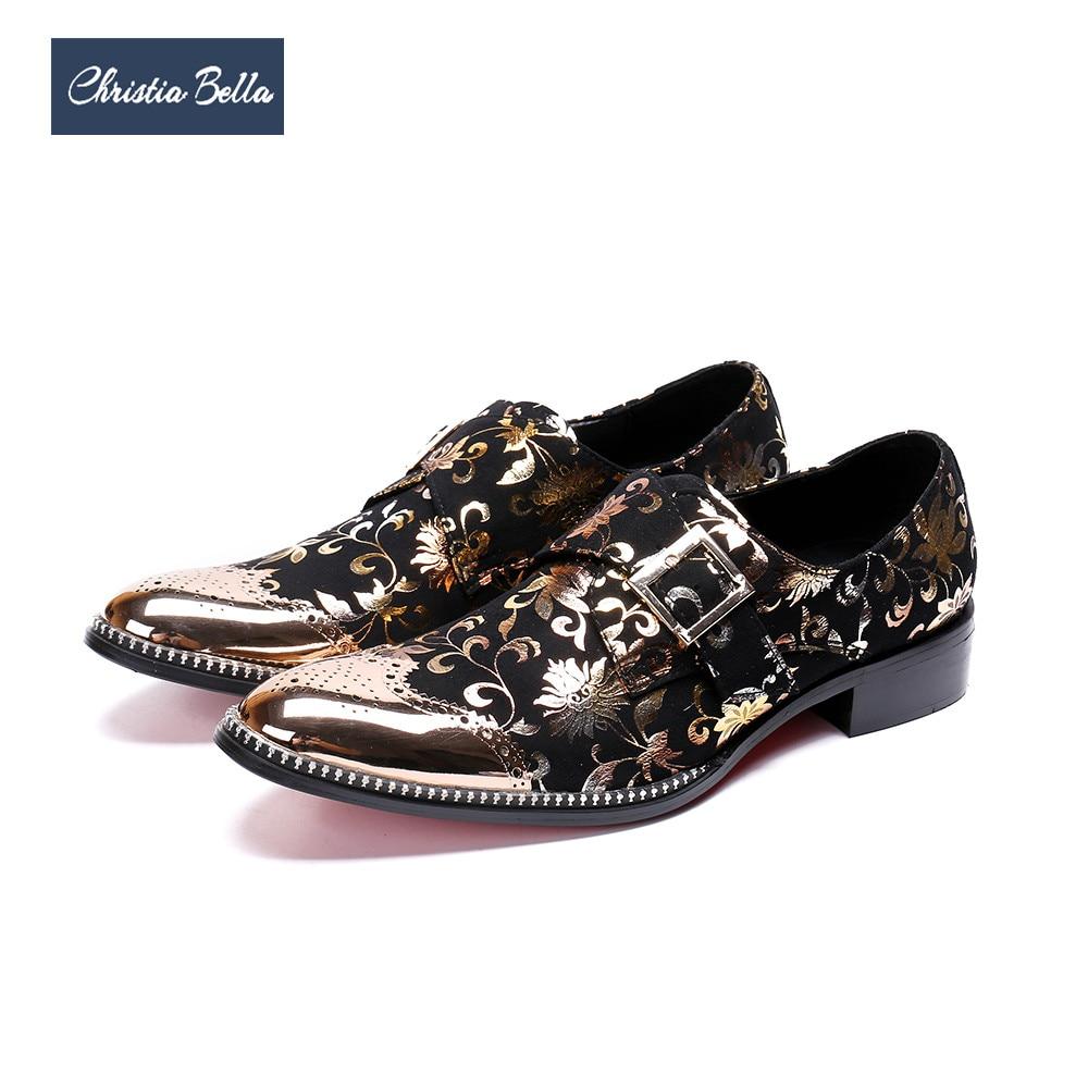 Men's Shoes 2019 Latest Design Christia Bella Designer Genuine Leather Men Shoes Silver Printing Business Shoes Metal Charm Wedding Men Dress Shoes Plus Size