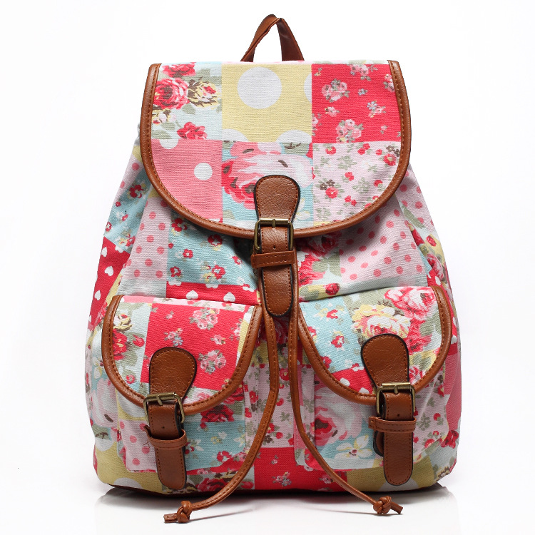 Korean version of the women canvas leisure backpack shoulder Bohemian College student bag