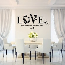 Warm Acrylic 3D Stereo Wallpaper LOVE Wall Sticker For Home Decor Dining Room TV Background Wall Stickers 5 Sizes DIY Art Gifts(China)