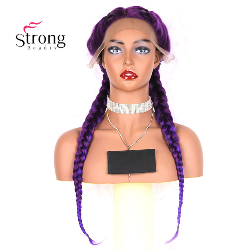 StrongBeauty Front Lace Wigs Synthetic Braided Lace Front Wig Long Purple With Blue Highlights