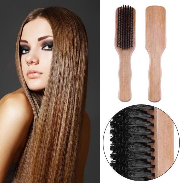 1 pc מברשת שיער כרית עץ ידית חזיר זיפי שיער מברשת רכה מסרק בארבר שיער וסטיילינג מברשת cepillo pelo tarak