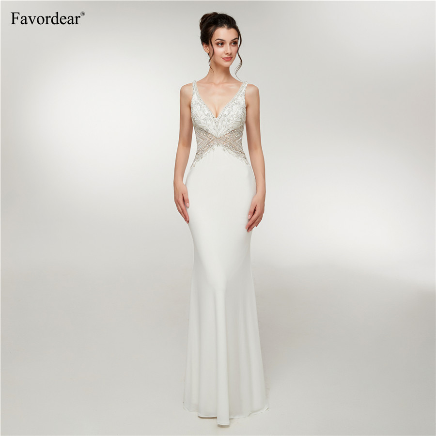 Favordear Fast Shipping Real Photos 2019 Vestido De Noiva Formal Women's A-Line Simple <font><b>Beach</b></font> <font><b>Wedding</b></font> <font><b>Dress</b></font> <font><b>Sexy</b></font> Backless <font><b>V</b></font> <font><b>Neck</b></font> image