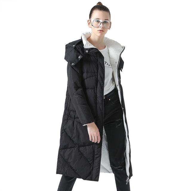 Toyouth Women Coat Winter Medium-Long Hoody Single-breasted Snap Button Thickening Long Jacket Coat