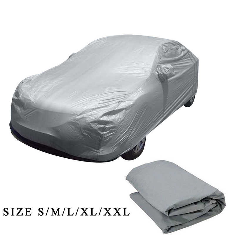 Nieuwe Universele Full Car Covers Sneeuw Ijs Stof Zon UV Shade Cover Licht Zilver Maat S-XL Auto Case Outdoor protector Cover