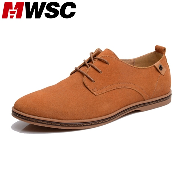 MWSC Oxford Rubber Sole Suede Leather Shoes Flat Heel Low Cut Casual Shoes Men's Brand Vintage Sapato Masculino