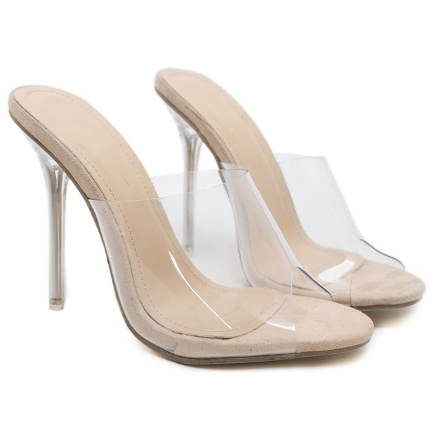 02e6c61d88e Women PVC Jelly Shoes Summer Transparent 10 CM High Heels Slippers Slip On Clear  Heel Lady Slides Size 35-40 Beige Kardashian