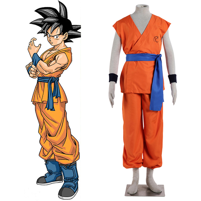 Anime Dragon Ball Z Goku Super Saiyan God Super Saiyan Kakarotto Cosplay  Costume Trademark Time Patroller Training Uniform b954fdbc3302
