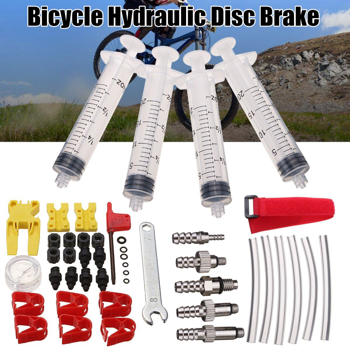 Bicycle Hydraulic Disc Brake Bleed Kit Tool For Shimano TEKTRO MAGURA ZOOM For  AVID Formula DODE JUICY HAYES ELIXIR Bicycle