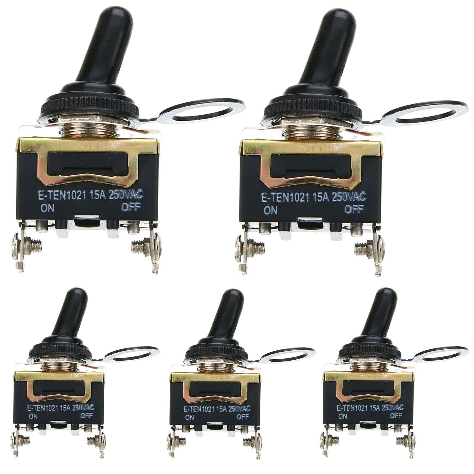 цена на Mayitr 5pcs SPST 2 Pin Rocker Switch Car Boat Heavy Duty 15A 250V ON/OFF Rocker Toggle Switches + Waterproof Boot