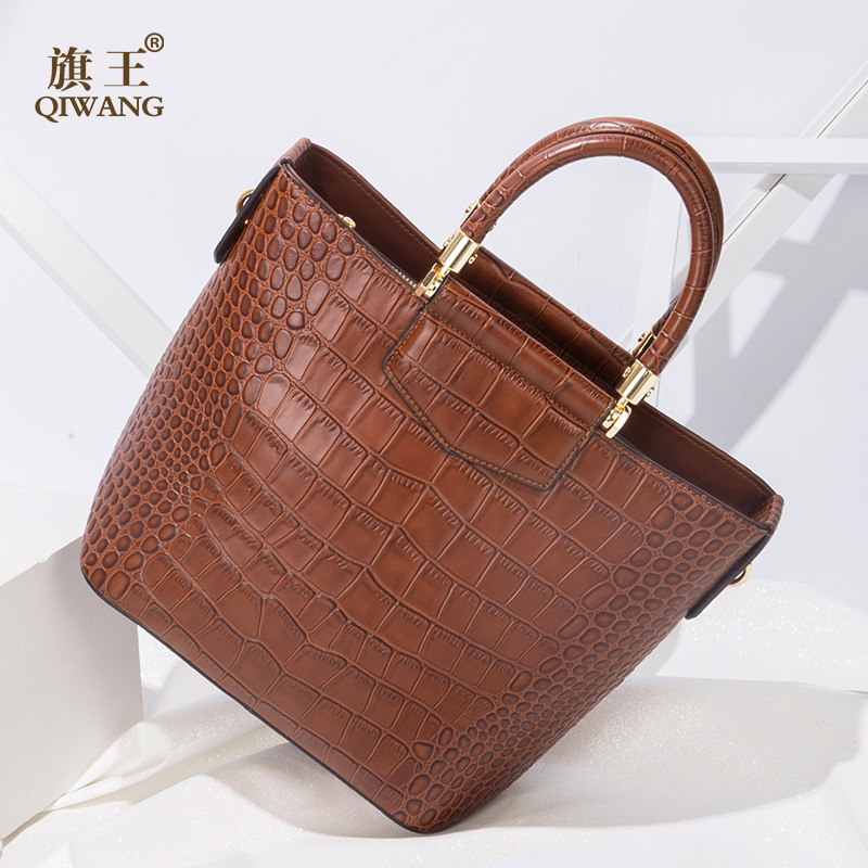 Qiwang Brown Brand Women Bag 100% Genuine Leather Women Crocodile Handbag Real Leather CowTote Women Bag for She qiwang brand women bag genuine leather women shopping tote bag can change shape real leather handbag for women luxury