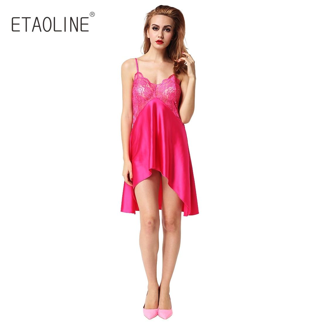 bc16909f159 ETAOLINE 2018 Womens Sleepwear White Satin Chemise Lace Babydoll Sexy  Nightie Nightgown Nightwear Irregular Cut Underwear R04-in Nightgowns    Sleepshirts ...