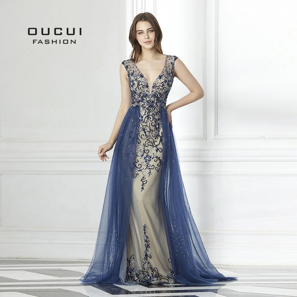 Hard Beading Navy Blue With Train Evening Dress Long Diamond Crystal Tulle Formal Abiye Vestido De