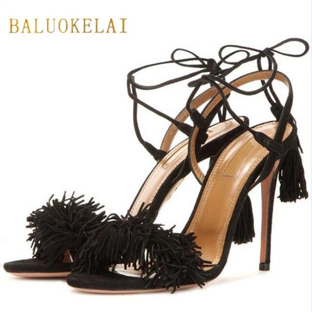7145e9bd1 Sapatos Mulher Sandálias de Salto Alto Pele De Carneiro Salto Lace Up  Fringe Franja Sandálias Gladiador