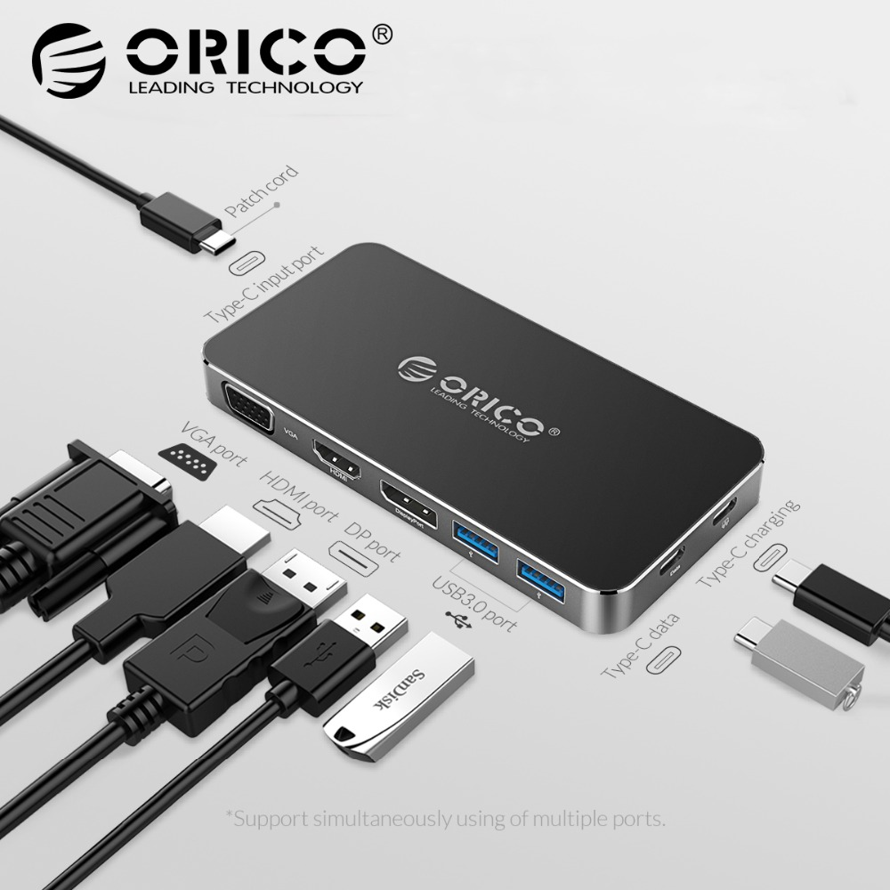 ORICO 8 in 1 Type-C Docking Station Multifunction HUB Laptop Splitter USB C to DP HDMI VGA 4K with 2*USB 3.0 Converter PD цена и фото