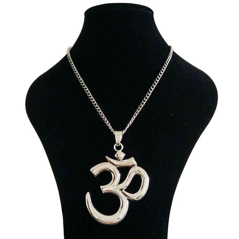 ✔  1 х тибетский античный серебряный тон большой абстрактный символ ом аум йога буддийские ожерелья на  ①