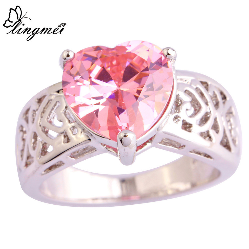 lingmei Solitaire Jewelry Engagement Rings for Women Pink CZ Silver ...