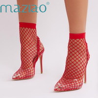 MAZIAO 2019 Brand New Big Size 34 45 Fashion Air Mesh Women's Shoes Woman Sandals Sexy Thin High Heels Party Woman Summer Boots