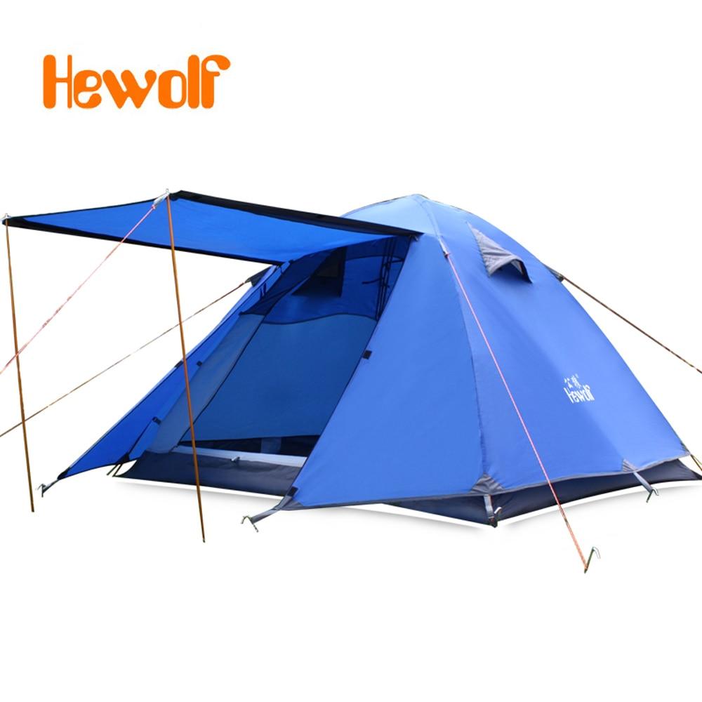 3-4 persons Doubledoor Aluminum Pole Camping Tent Windproof Waterproof Double Layer Tent Ultralight Outdoor Hiking Picnic tents