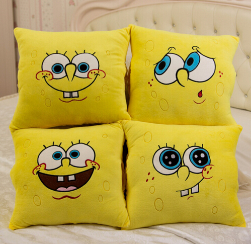 1pcs 34*34cm Cartoon Sponge Bob Plush Toys Soft Spongebob Pillow Cushion  Four Models Can Be Selected  Kids Toys