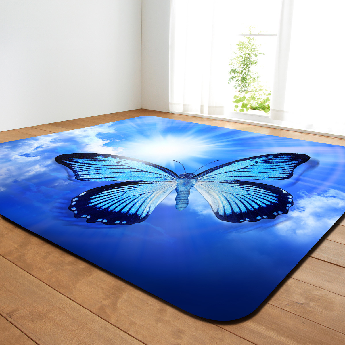 Zeegle HD Butterfly Painting Rugs And Carpets For Home Living Room Kids Bedroom Carpets Anti-slip Office Chair Floor Mats