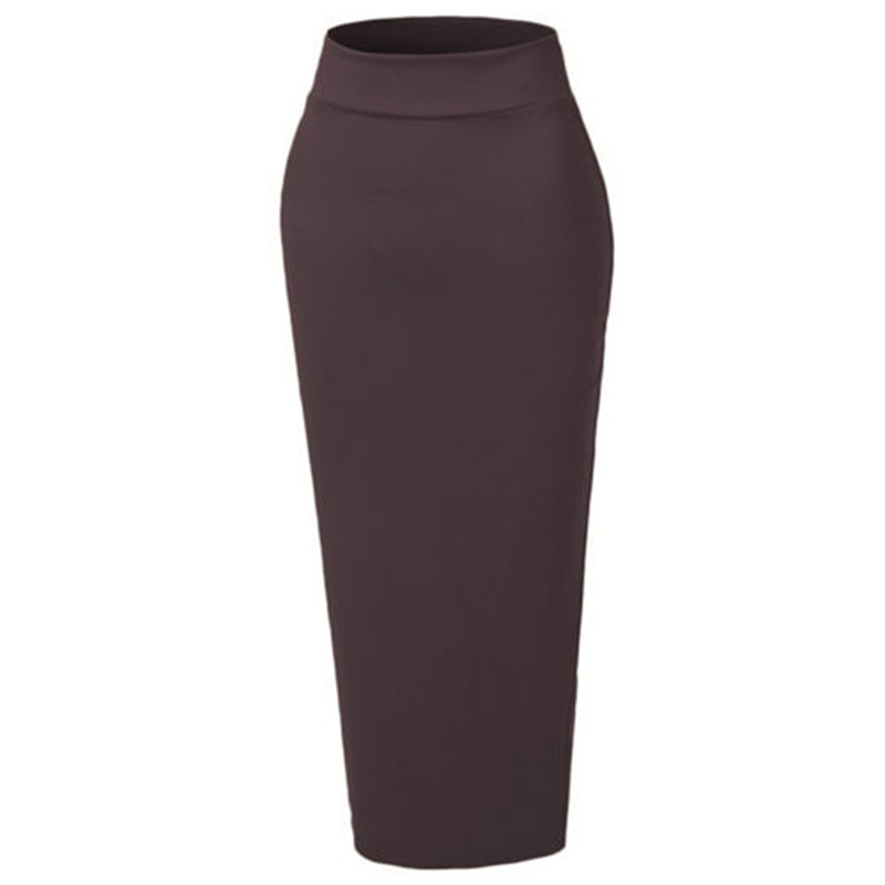 Muslim Thick Skirt XL 2XL Ladies Bodycon Slim Black/ White Coffee Dark Red High Waist Stretch Long Maxi Women Pencil Skirt