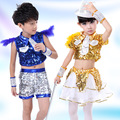 Children's Sequins dance costumes fashion Little girls sequins jazz dance Modern dance hip hop street stage costumes