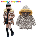 Girls Warm Coat Fur Hooded Jacket  2016 Fashion Leopard Print Jacket Coat For Girl Long Section Thick Children's Winter Jacket