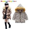 Meninas Jaqueta Com Capuz Quente Casaco De Pele 2016 Moda Da Cópia do Leopardo do Revestimento do Revestimento Para A Menina Longa Seção de Espessura de Inverno das Crianças jaqueta