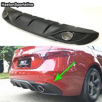 For Alfa Romeo Giulia 2017UP Car styling accessories Giulia Rear Diffuser Spoiler With Exhaust Tip