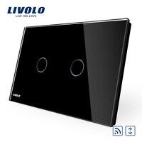 AU US Standard Livolo White Crystal Glass Panel AC 110 250V 50 60Hz Wireless Curatin Remote