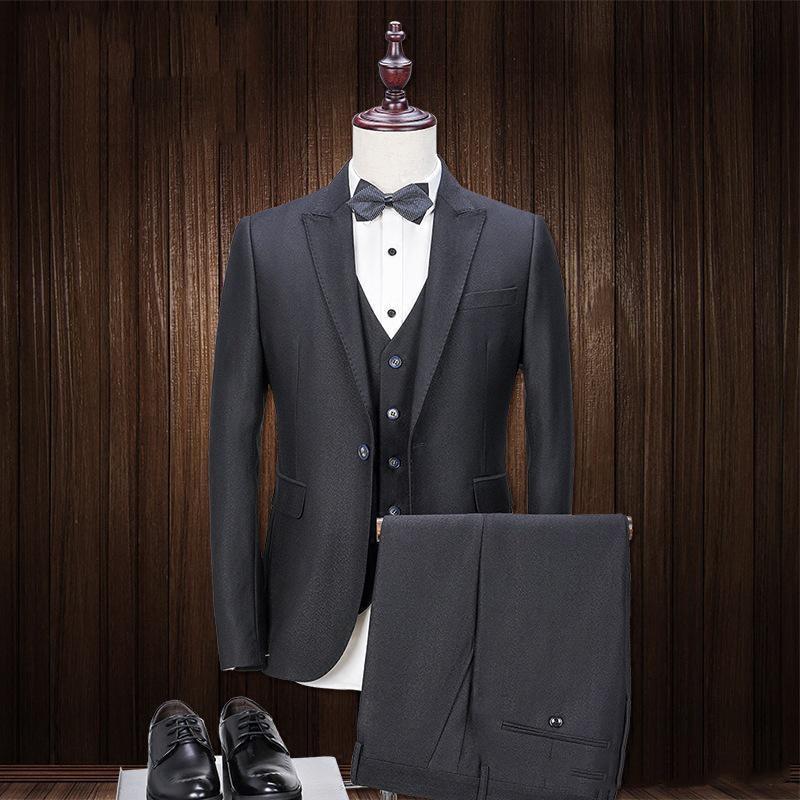 Custom Made Groom Tuxedos Black Groomsmen Best Man Suit 3 Piece Wedding Men Suits Bridegroom Fomal Wear (Jacket+Vest+Pants)