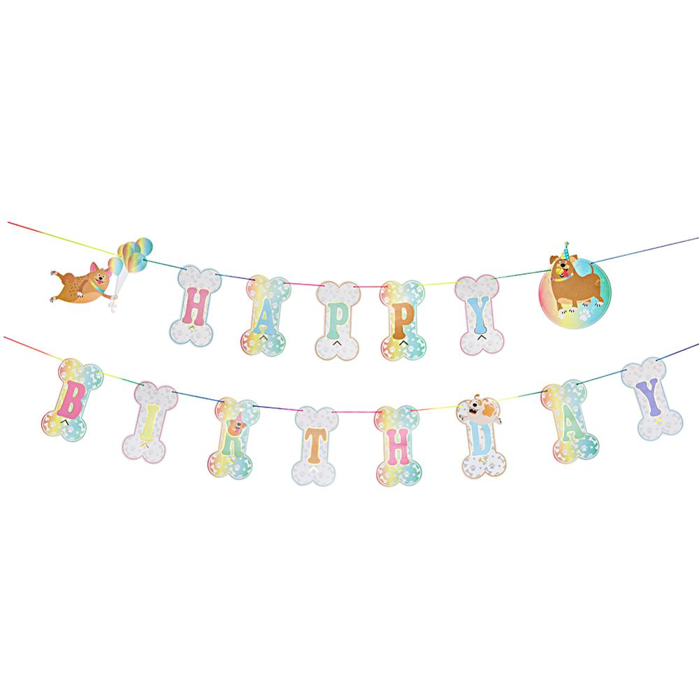 1pc Puppy Birthday Banner Bone Shape Happy Birthday Bunting Garland Dog Party Woof Pet Party Baby Shower Doggy Birthday in Party DIY Decorations from Home Garden