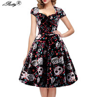 IPretty Elegant Skull Print Dress Women Vintage 50s 60s Square Collar Wrapped Chest Plus Size 4XL