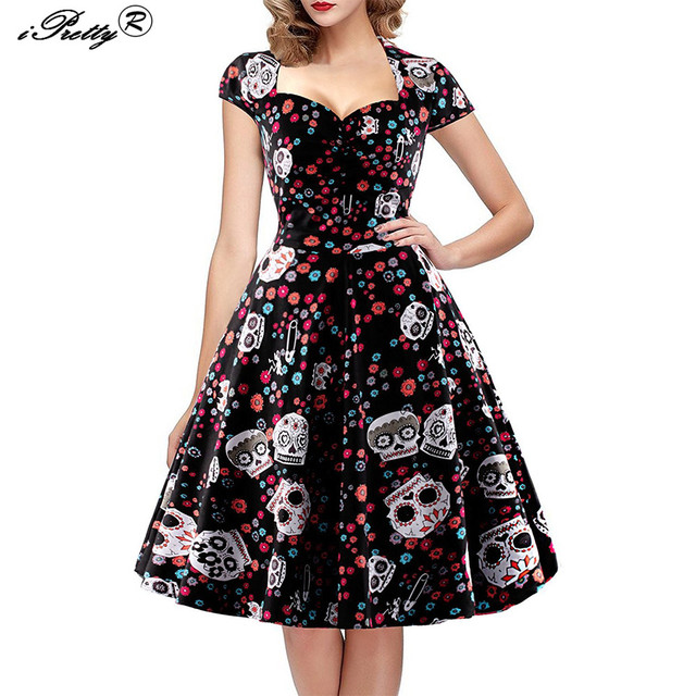 iPretty Elegant Skull Print Dress Women Vintage 50s 60s Square Collar Wrapped Chest Plus Size 4XL Swing Rockabilly Pin Up Dress
