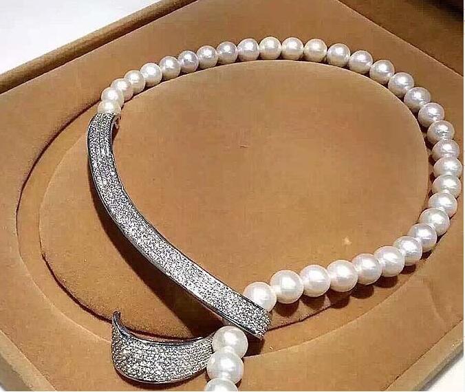 Collier perles coquillage 10mm-connecteur micro pavé cz> livraison gratuite