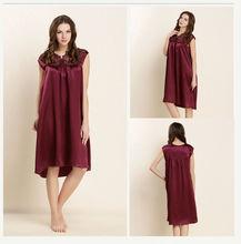 2016 Women Sleepshirts Spring Female Long Nightgowns 100% Real Silk with Lace Spring Sleepwear Nightwear AU80038