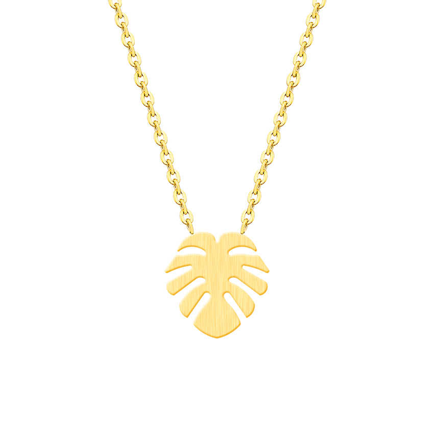 Hawaiian Aloha Plam Tree Pendants Monstera Leaf Necklaces Women's Fashion Jewelry Stainless Steel Necklace Collier Femme Bff