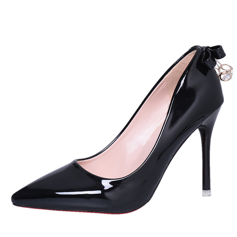 Summer Patent PU Leather Pumps Women Red Bottom Shoes Woman Sexy Thin High Heels Pointed Toe Black Dress Wedding