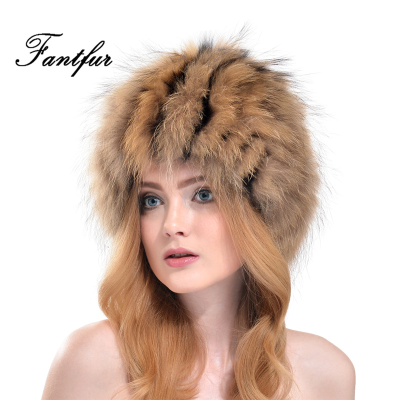 FANTFUR Women Real Silver Fox Fur Hat Ladies Genuine Raccoon Beanies Winter Headgear Russian Style Outdoor Cap
